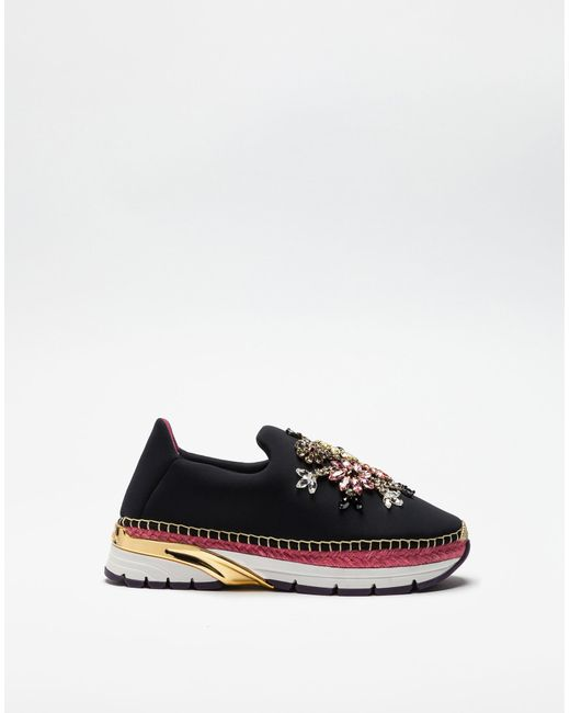 Dolce & Gabbana | Black Slip-on Sneakers With Jeweled Appliqués And Double Bottom | Lyst