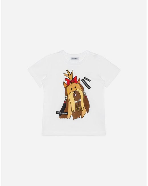 Dolce & Gabbana - White Printed Cotton T-shirt - Lyst