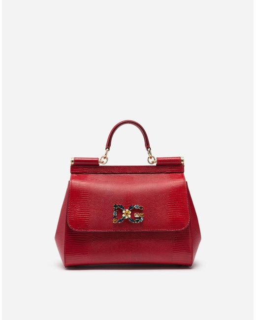 326454e6af3a Dolce   Gabbana - Red Medium Sicily Bag In Iguana Print Calfskin With Dg  Logo Crystals ...