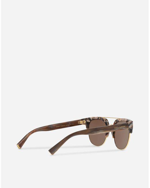 82d4edb066e4 ... Lyst Dolce   Gabbana - Brown Square Sunglasses With Double Bridge In  Metal for Men ...