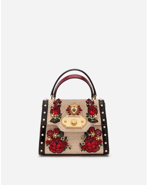 4c4b8db581 Dolce   Gabbana - Multicolor Medium Welcome Bag In Woven Raffia And  Appliqués - Lyst ...