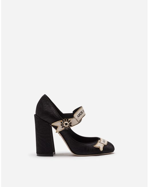 Dolce & Gabbana - Black Mary Jane In Brocade With Scroll - Lyst