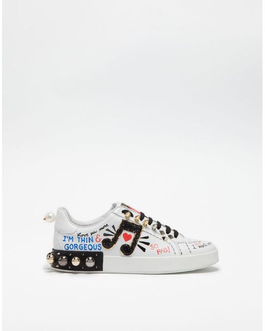 0d989b68a010 Dolce   Gabbana - White Sneakers In Printed Leather With Applications - Lyst