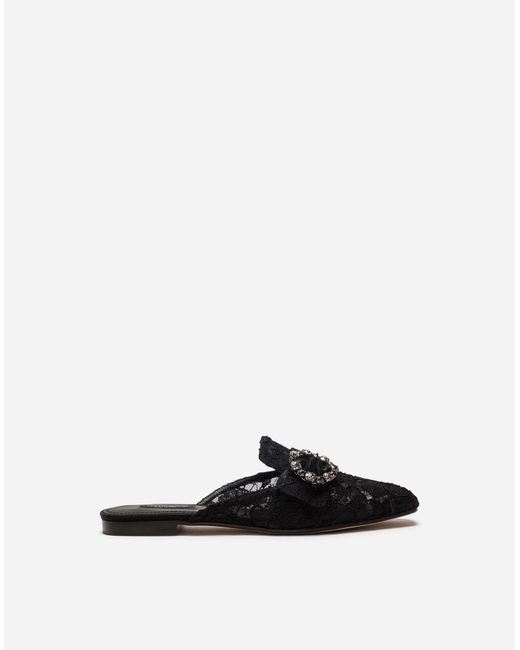 Dolce & Gabbana - Black Lace Slippers With Jewel Buckle - Lyst