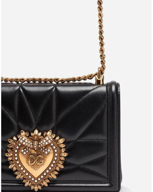 7beea84758 ... Lyst Dolce   Gabbana - Black Medium Devotion Bag In Quilted Nappa  Leather ...