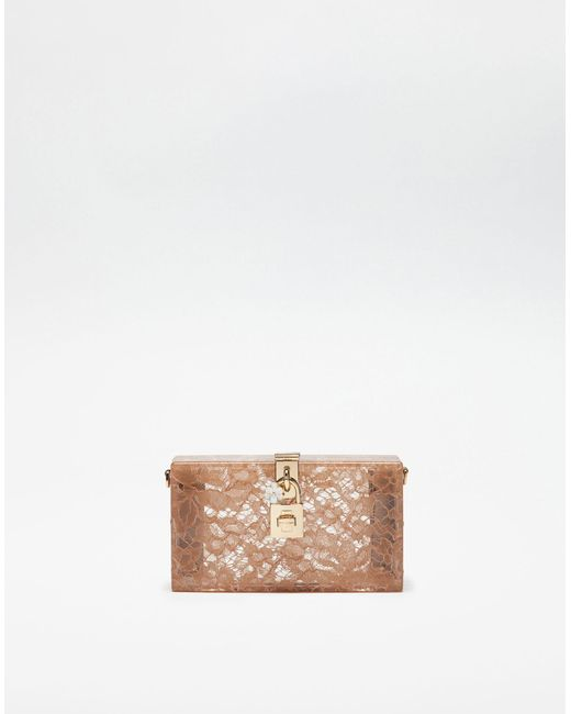 Dolce & Gabbana - Natural Dolce Box Clutch In Plexiglass And Lace - Lyst