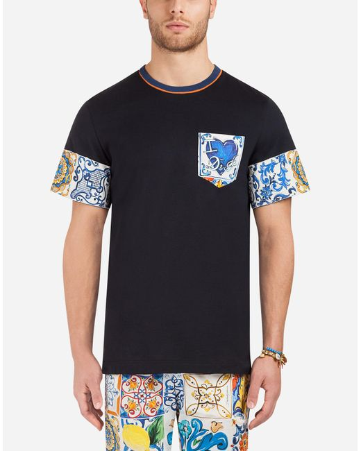 Dolce & Gabbana - Blue Cotton T-shirt With Contrasting Prints for Men - Lyst