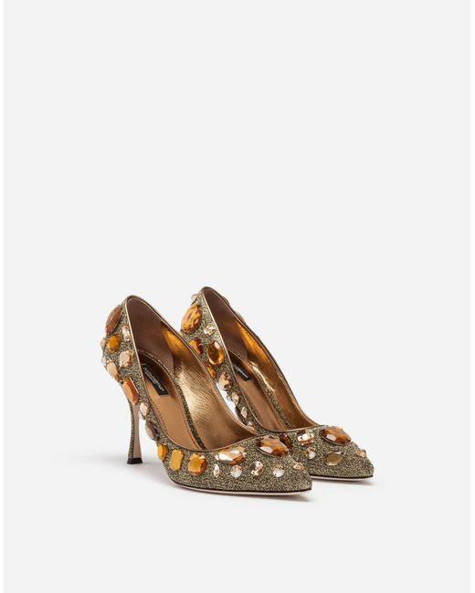ff1b329f76b2 ... Lyst Dolce   Gabbana - Metallic Pumps In Soft Lurex With Embroidery ...
