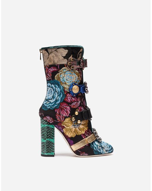 Dolce & Gabbana | Blue Jacquard Ankle Boots With Jewel Buckles | Lyst