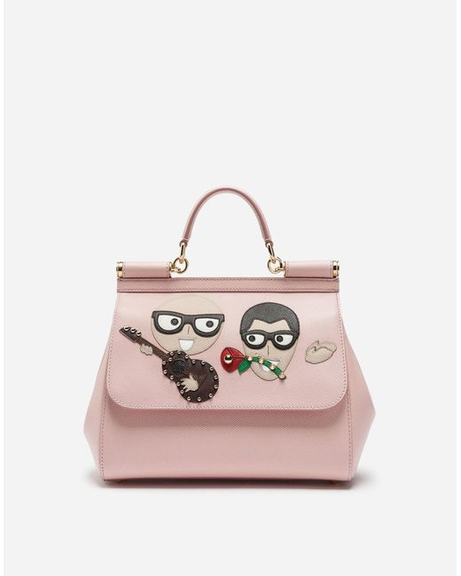 a4bdf23c1f Dolce   Gabbana - Pink Sicily Handbag In Dauphine Calfskin With Designers   Patches ...
