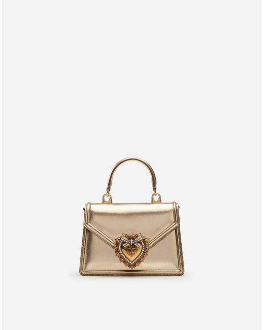 7dc17ea819 Dolce   Gabbana - Metallic Small Devotion Bag In Mordore Nappa Leather -  Lyst ...
