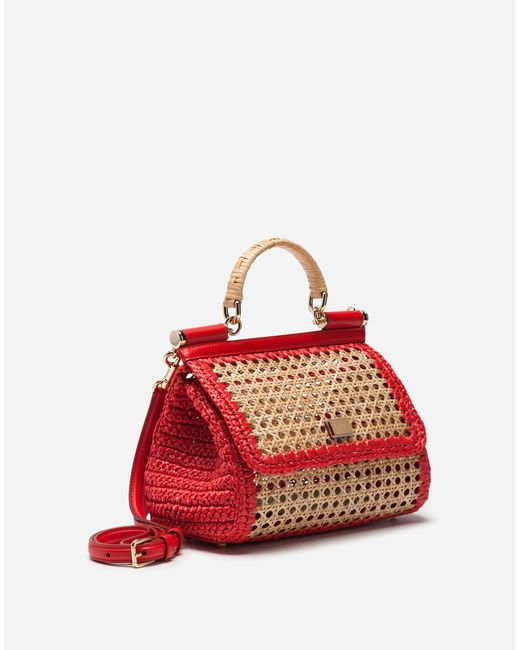772b6d42018 ... Lyst Dolce   Gabbana - Red Medium Sicily Bag In Mix Of Materials ...