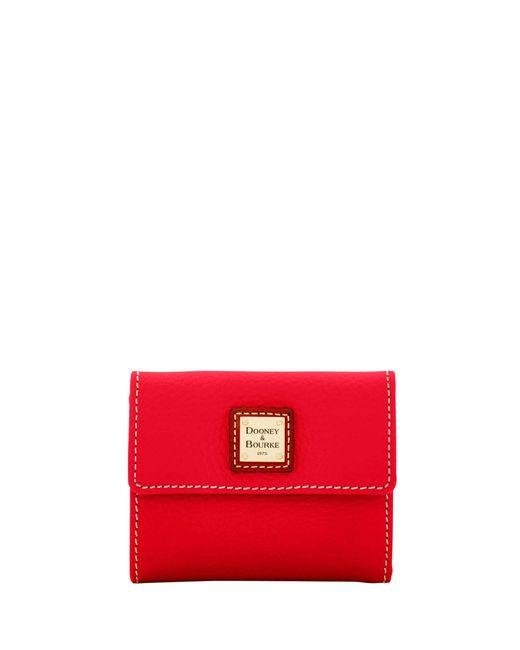 Dooney & Bourke - Red Pebble Grain Small Flap Wallet - Lyst