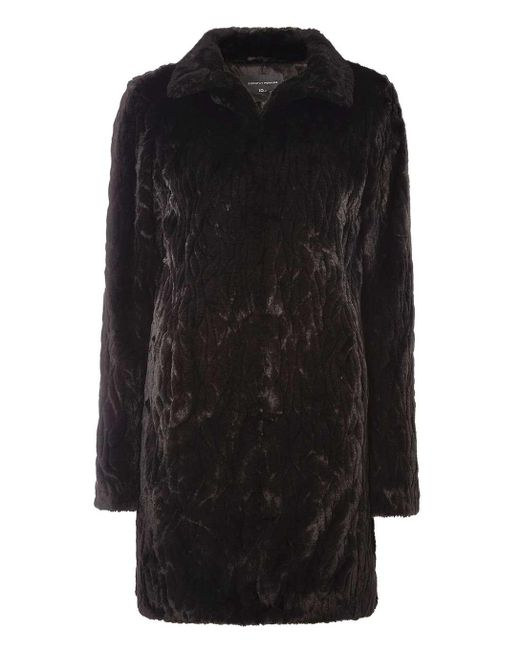Dorothy Perkins | Tall Black Longline Faux Fur Coat | Lyst ...
