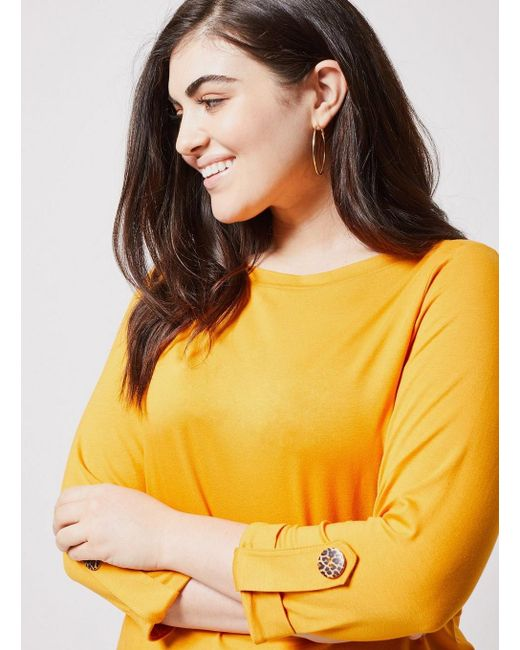 a0e0bbd5caf ... Dorothy Perkins - Orange Dp Curve Mango Boat Neck Top - Lyst ...