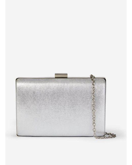 In Lyst Bag Perkins Box Clutch Metallic Silver Dorothy y8n0POvmNw
