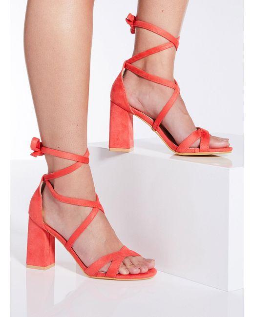7e59d973d ... Dorothy Perkins - Multicolor Quiz Coral Tie Up Block Heel Sandals - Lyst  ...