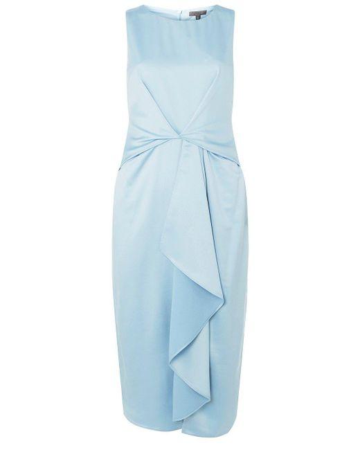 Dorothy Perkins - Luxe Pale Blue Satin Midi Shift Dress - Lyst
