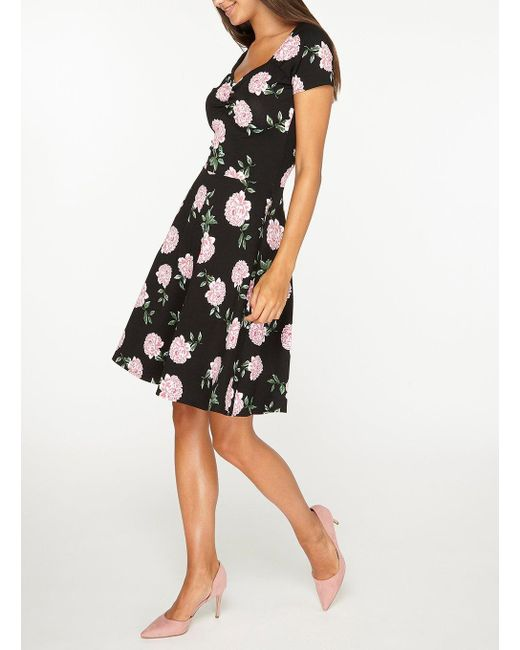 ... Dorothy Perkins - Tall Black Floral Print Sweetheart Skater Dress -  Lyst ... 24d120cf3