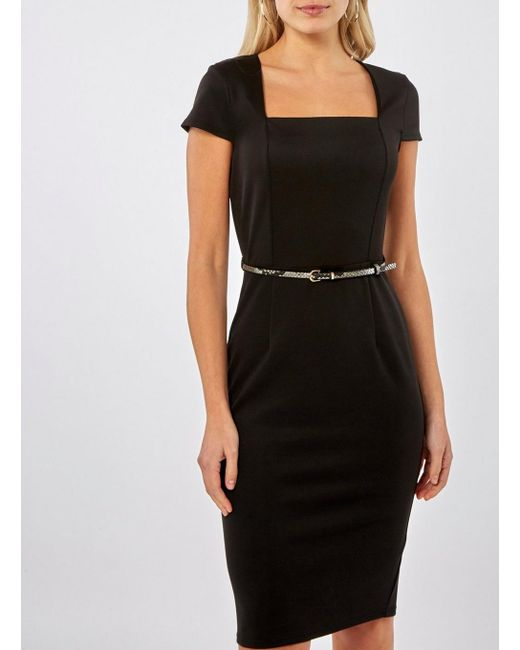 Lyst Dorothy Perkins Black Square Neck Belted Pencil Dress In Black