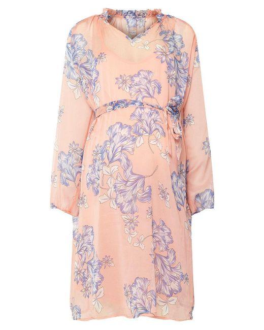 Dorothy Perkins - Pink Mamalicious Maternity Peach Printed Skater Dress - Lyst