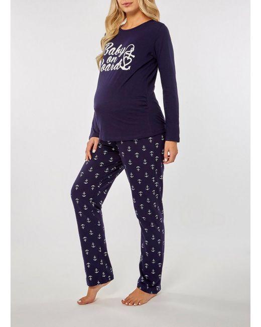 8c6a4b6bcae1a ... Dorothy Perkins - Blue Maternity Purple 'baby On Board' Pyjama Set ...