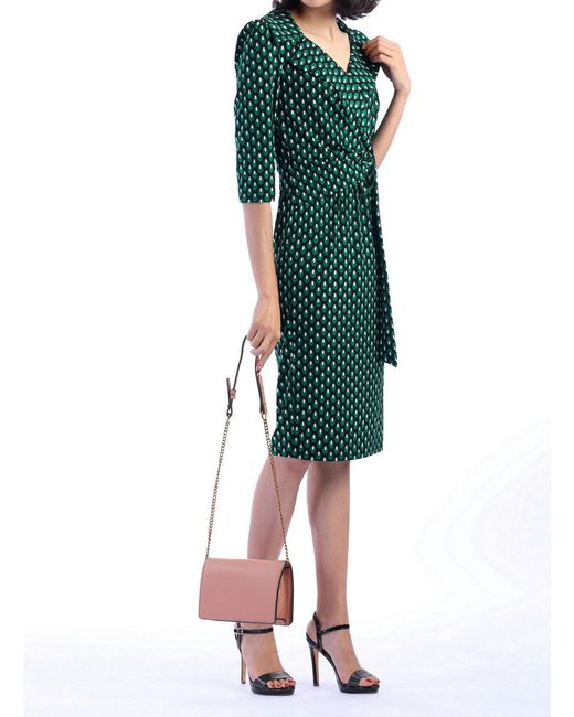 625808dd7 ... Jolie Moi - Green Printed Vintage Cross Front Dress - Lyst ...