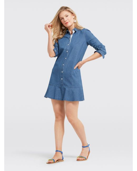 b60df0ba5eb Lyst - Draper James Chambray Tulip Shirtdress in Blue - Save 15%