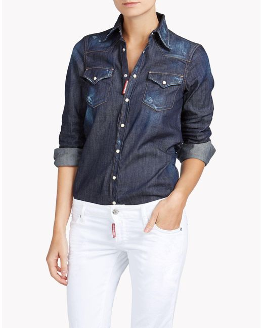 DSquared² | Blue Western Shirt | Lyst