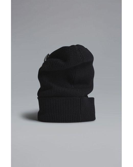a5b6083dec6 DSquared² - Black Military Punk Pins Knit Beanie for Men - Lyst ...
