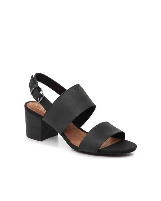 436fbe8b9e7 Lyst - TOMS Poppy (shade Suede linen) Women s Sandals in Black ...