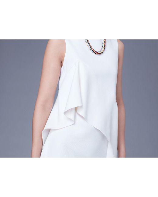 4869da96ac46e ... Diane von Furstenberg - White Sleeveless Ruffle Front Linen Dress -  Lyst ...