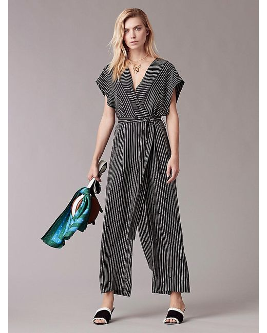 Diane von Furstenberg - Black Short-sleeve V-neck Jumpsuit - Lyst