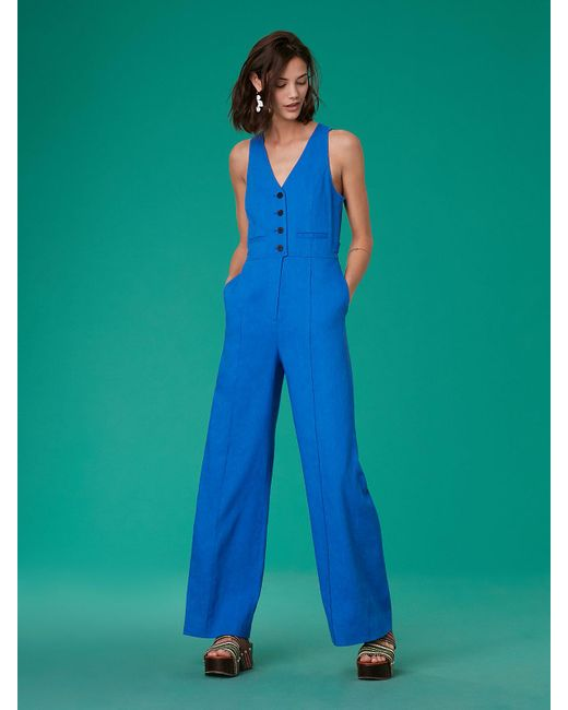 Diane von Furstenberg - Blue Sleeveless Button-up Fitted Linen Jumpsuit - Lyst