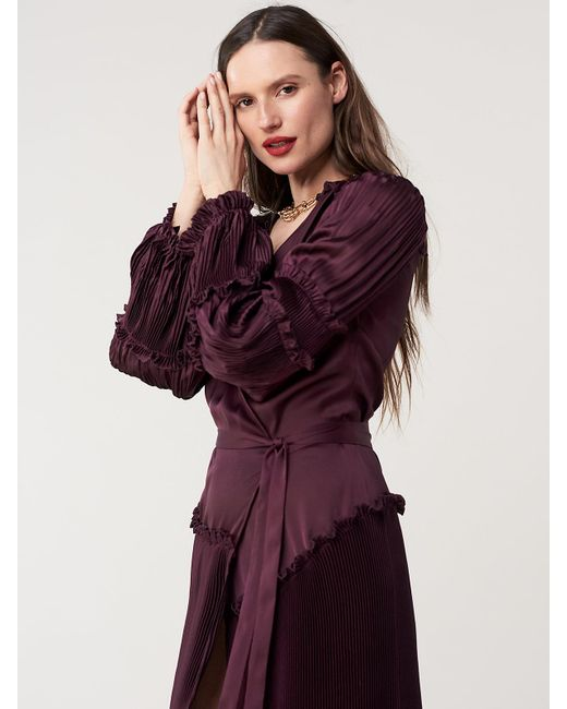 7fd2e3eee3 ... Diane von Furstenberg - Purple Keira Pleated Midi Dress - Lyst ...