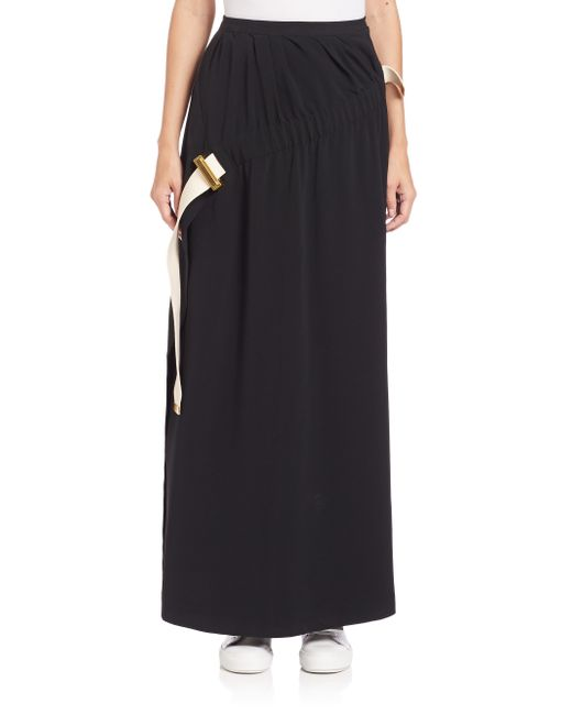 acne pleat front maxi skirt in black save 60 lyst