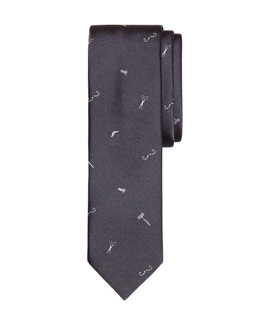 Brooks Brothers | Gray Barber Shop Motif Slim Tie for Men | Lyst