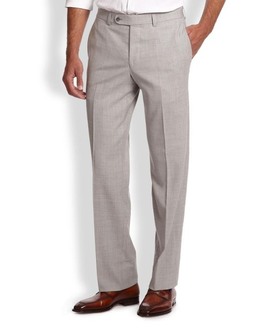 Saks Fifth Avenue | Gray Stretch-wool Trousers for Men | Lyst