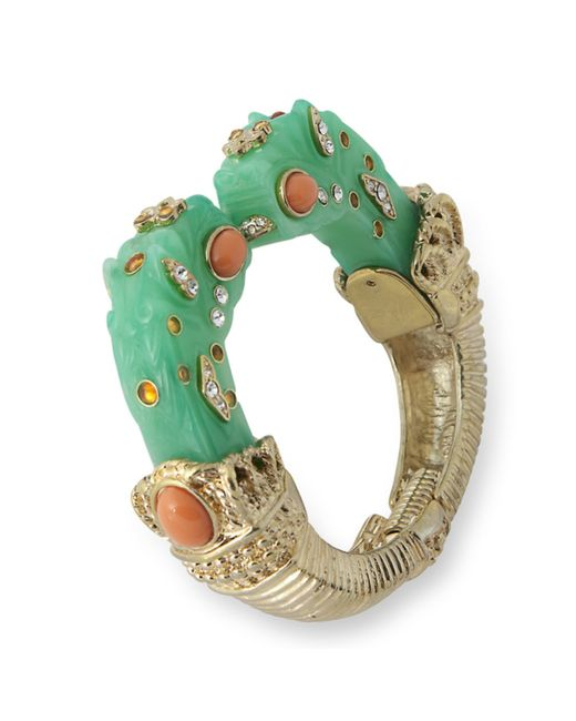Kenneth Jay Lane | Green Jade Dragon Head Bracelet | Lyst