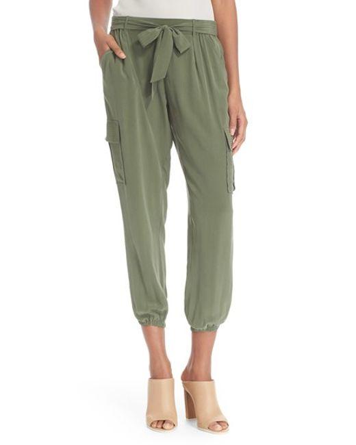 Joie 'elandra' Crop Silk Cargo Pants in Green (CYPRESS)