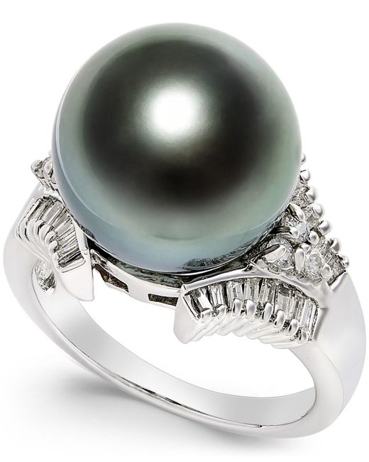 Macy S Cultured Tahitian Black Pearl 13mm And Diamond 3