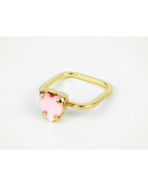 Sabrina Dehoff | Pink Superfine Ring With Mother Of Pearl Rose Heart | Lyst