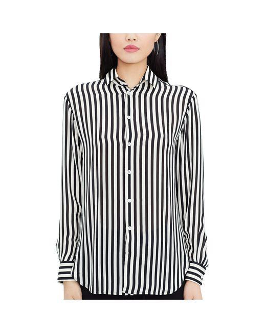 Polo ralph lauren striped silk button down shirt in black for Black silk button down shirt