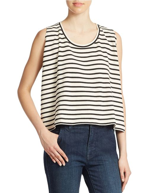 Free People | Black Cropped Striped Tank Top | Lyst