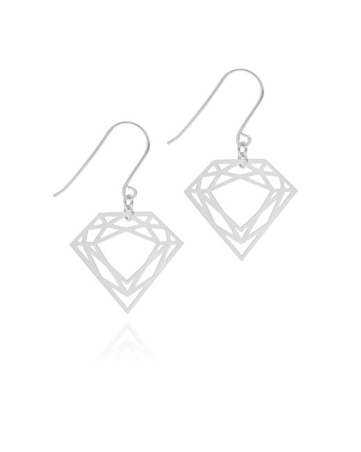 Myia Bonner | Metallic Silver Classic Diamond Earrings | Lyst