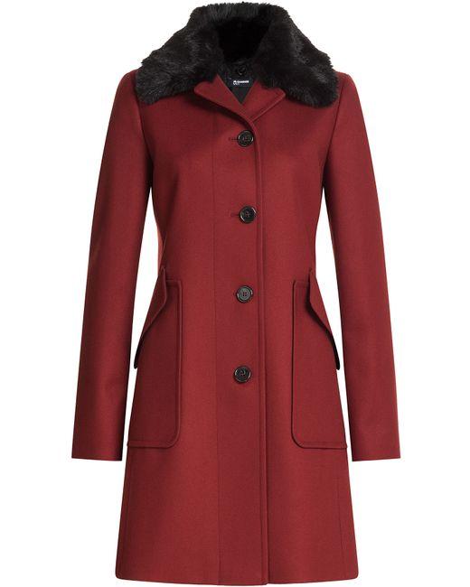 Jil sander navy Wool Coat With Faux Fur Collar