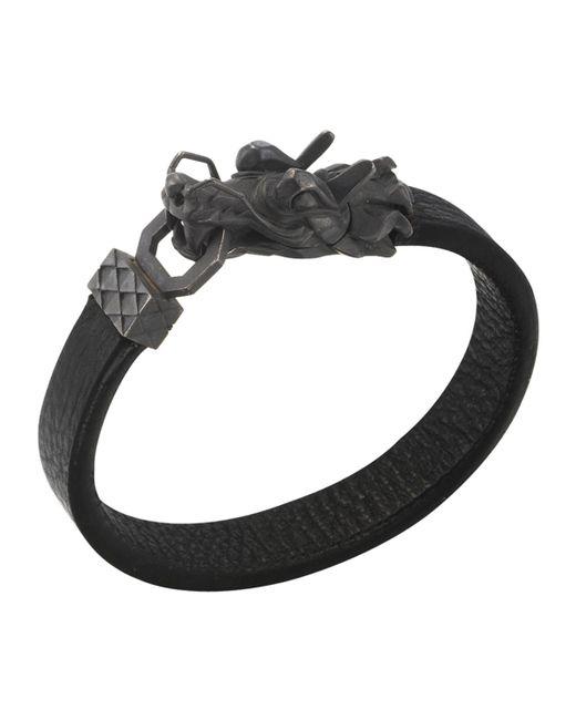John Hardy | Black Naga Men's Dragon-head Leather Bracelet for Men | Lyst