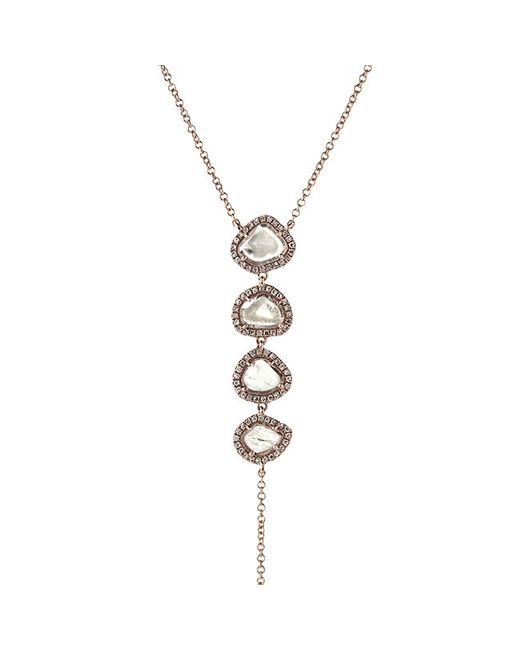 Anne Sisteron | Metallic 14kt Rose Gold 4 Drop Diamond Slice Lariat Necklace | Lyst