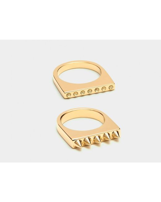 Maria Francesca Pepe | Metallic Set Of 2 Rings With Spikes And Encrusted Swarovski | Lyst