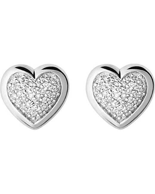 Links of London | Metallic Diamond Essentials Silver And Diamond Heart Stud Earrings | Lyst
